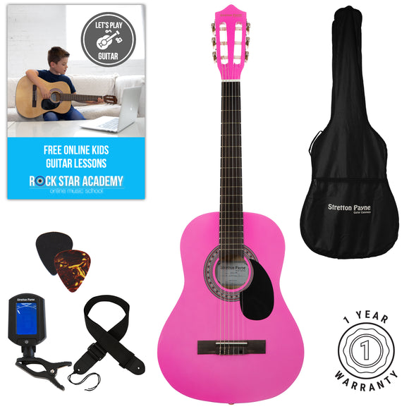 Acoustic Guitar Package 3/4 Sized (36' inch) Classical Nylon String Childs Guitar Pack (Age 7 to 11) Pink