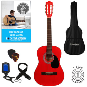 Acoustic Guitar Package 3/4 Sized (36' inch) Classical Nylon String Childs Guitar Pack (Age 7 to 11) Red