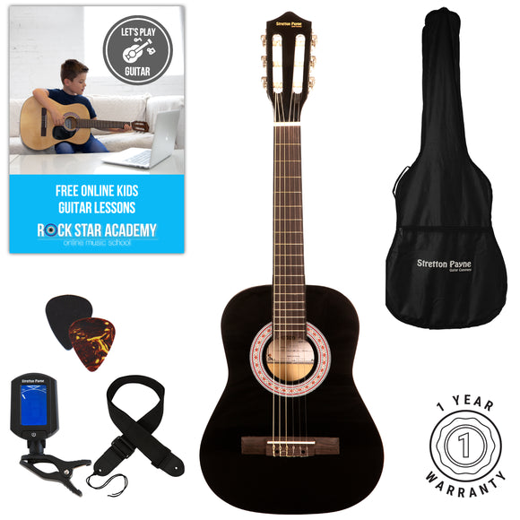 Acoustic Guitar Package 1/2 Sized (34' inch) Classical Nylon String Childs Guitar Pack Black