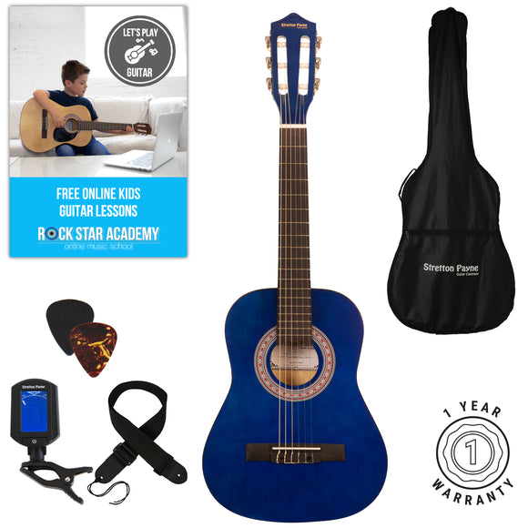 Acoustic Guitar Package 1/2 Sized (34' inch) Classical Nylon String Childs Guitar Pack Blue