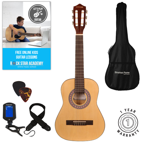 Acoustic Guitar Package 1/2 Sized (34' inch) Classical Nylon String Childs Guitar Pack Natural