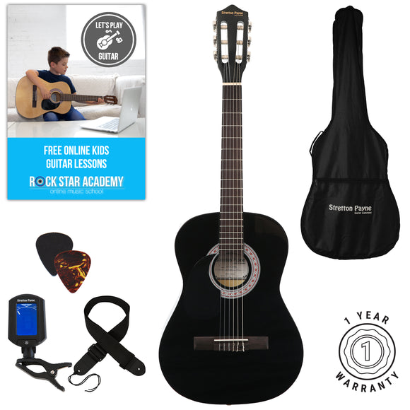 Left Hand Acoustic Guitar Package 3/4 Sized (36' inch) Classical Nylon String Childs Guitar Pack Black