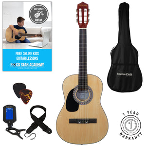 Left Hand Acoustic Guitar Package 3/4 Sized (36' inch) Classical Nylon String Childs Guitar Pack Natural