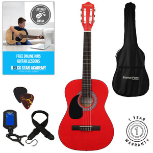 Left Hand Acoustic Guitar Package 3/4 Sized (36' inch) Classical Nylon String Childs Guitar Pack Red