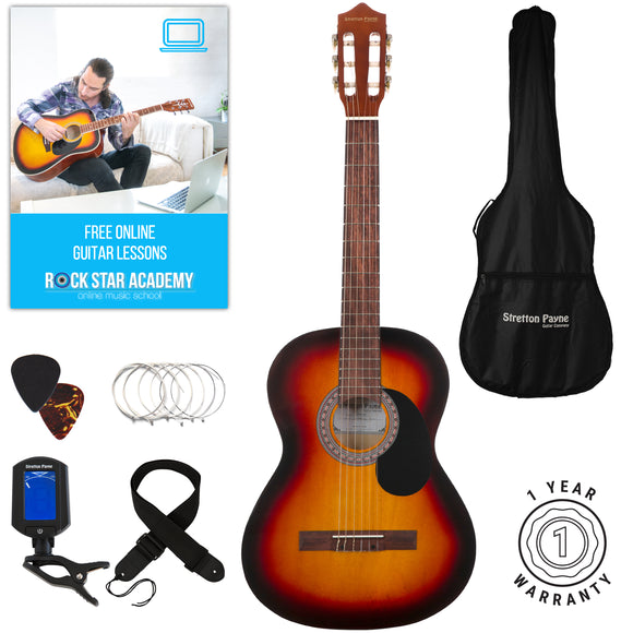 Stretton Payne Classical Guitar Full Size 4/4 (39' inch) Spanish Style Classical Acoustic Guitar Package Nylon Strings. Acoustic Guitar Pack Natural Sunburst