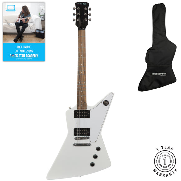 Stretton Payne XE Electric Guitar with padded bag. Guitar in White