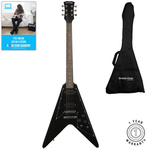 Stretton Payne Flying V Electric Guitar with padded bag. Guitar in Black