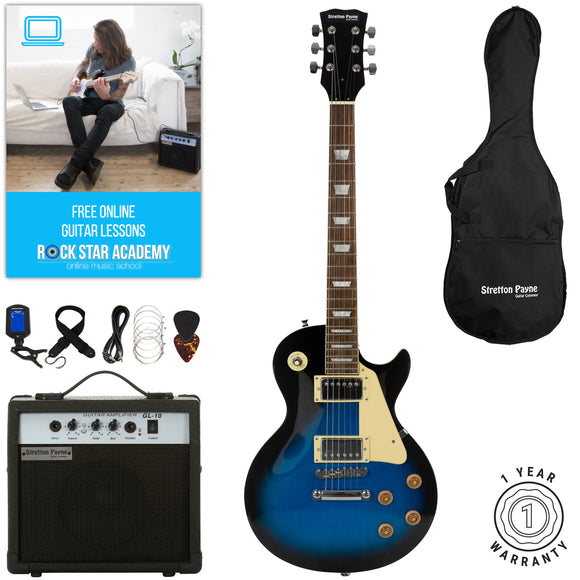 Stretton Payne LP Electric Guitar with practice amplifier, padded bag, strap, lead, plectrum, tuner, spare strings. Guitar in Blue Burst