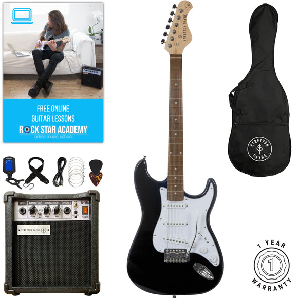 Stretton Payne ST Electric Guitar with practice amplifier, padded bag, strap, lead, plectrum, tuner, spare strings. Guitar in Black