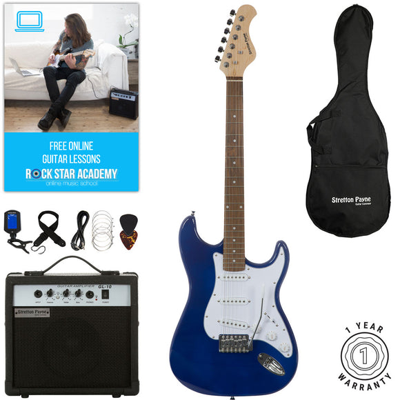 Stretton Payne ST Electric Guitar with practice amplifier, padded bag, strap, lead, plectrum, tuner, spare strings. Guitar in Blue