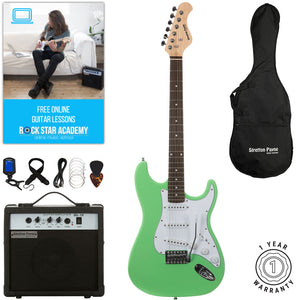 Stretton Payne ST Electric Guitar with practice amplifier, padded bag, strap, lead, plectrum, tuner, spare strings. Guitar in Surf Green