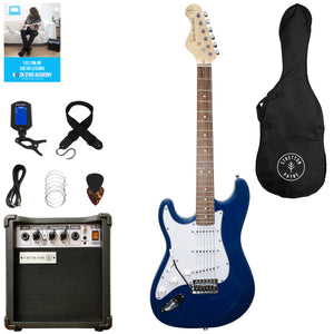 Stretton Payne LEFT HAND Electric Guitar with practice amplifier, padded bag, strap, lead, plectrum, tuner, spare strings. Guitar in Blue