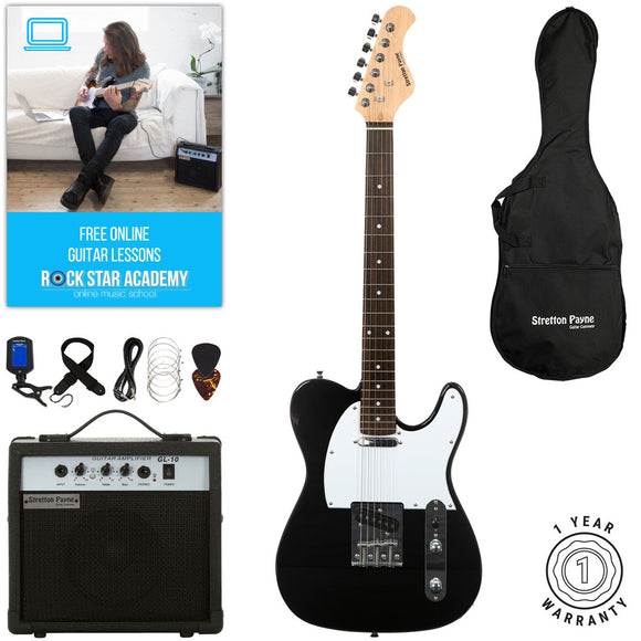 Stretton Payne TE Electric Guitar with practice amplifier, padded bag, strap, lead, plectrum, tuner, spare strings. Guitar in Black