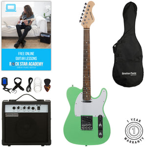 Stretton Payne TE Electric Guitar with practice amplifier, padded bag, strap, lead, plectrum, tuner, spare strings. Guitar in Surf Green