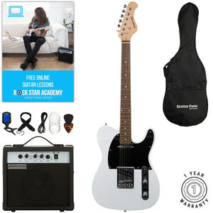Stretton Payne TE Electric Guitar with practice amplifier, padded bag, strap, lead, plectrum, tuner, spare strings. Guitar in White with Darkwood Neck