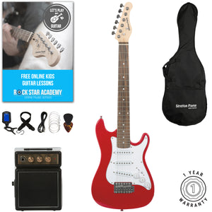 Stretton Payne 1/2 Size Junior Electric Guitar with practice amplifier, padded bag, strap, lead, plectrum, tuner, spare strings. Guitar in Red.