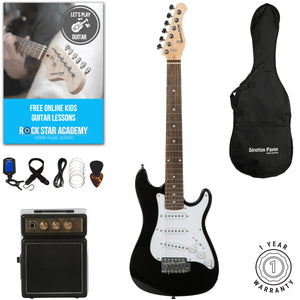 Stretton Payne 1/2 Size Junior Electric Guitar with practice amplifier, padded bag, strap, lead, plectrum, tuner, spare strings. Guitar in Black
