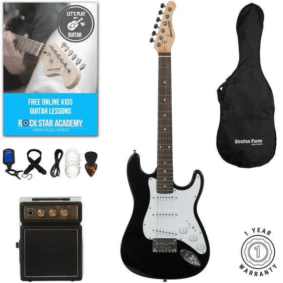 Stretton Payne 3/4 Size Junior Electric Guitar with practice amplifier, padded bag, strap, lead, plectrum, tuner, spare strings. Guitar in Black.