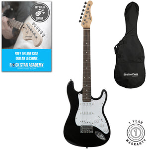 Stretton Payne Kids Electric Guitar Pack, Ages 7-11 years, 3/4 Size Guitar in Black for Junior Players