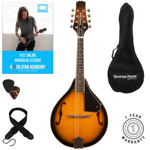Stretton Payne Mandolin with Gig Bag and Online Beginner Course Brown Burst