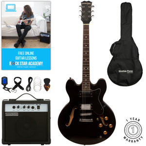 Stretton Payne 335 Hollow Body Semi Acoustic Electric Guitar with padded bag, strap, lead, plectrum, tuner, spare strings. Guitar in Black