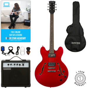 Stretton Payne 335 Hollow Body Semi Acoustic Electric Guitar with padded bag, strap, lead, plectrum, tuner, spare strings. Guitar in Cherry Red