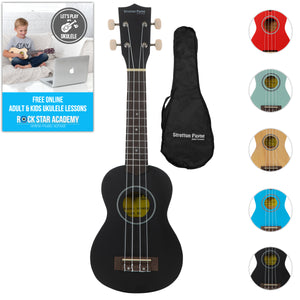 Soprano Ukulele Black with Gig Bag and Online Ukulele Course