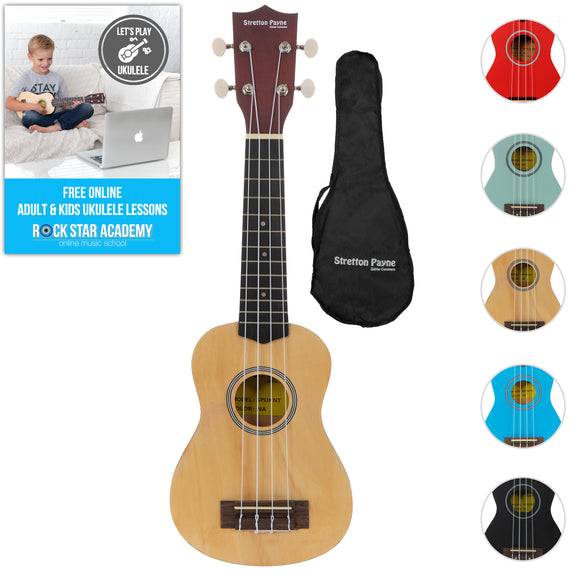 Soprano Ukulele Natural with Gig Bag and Online Ukulele Course