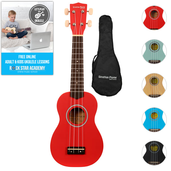 Soprano Ukulele Red with Gig Bag and Online Ukulele Course