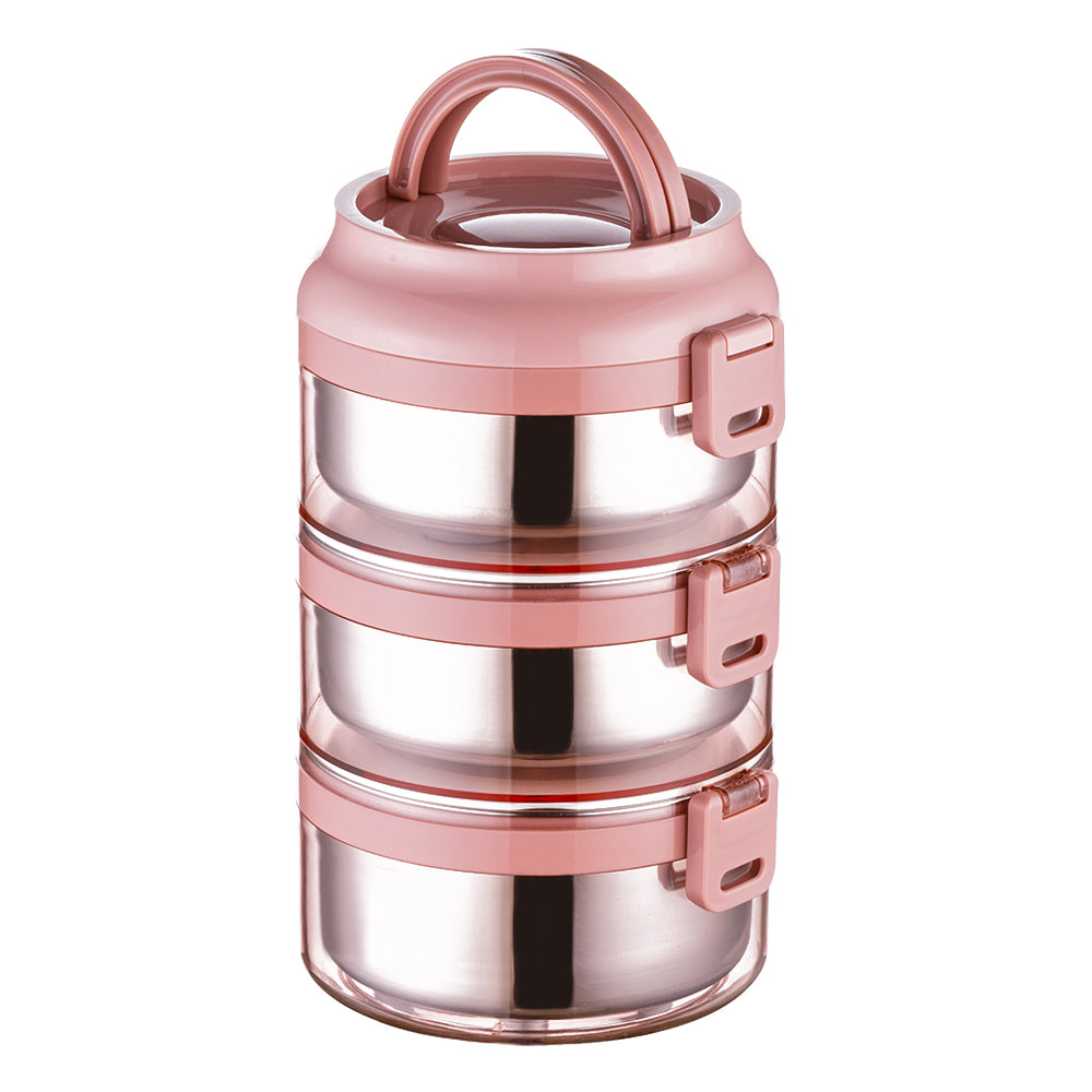 Lille Home 75oz Stainless Steel Stackable 3-Tier Lunch Box, Individual Lid for Each Layer