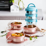Load image into Gallery viewer, Lille Home 75oz Stainless Steel Stackable 3-Tier Lunch Box, Individual Lid for Each Layer