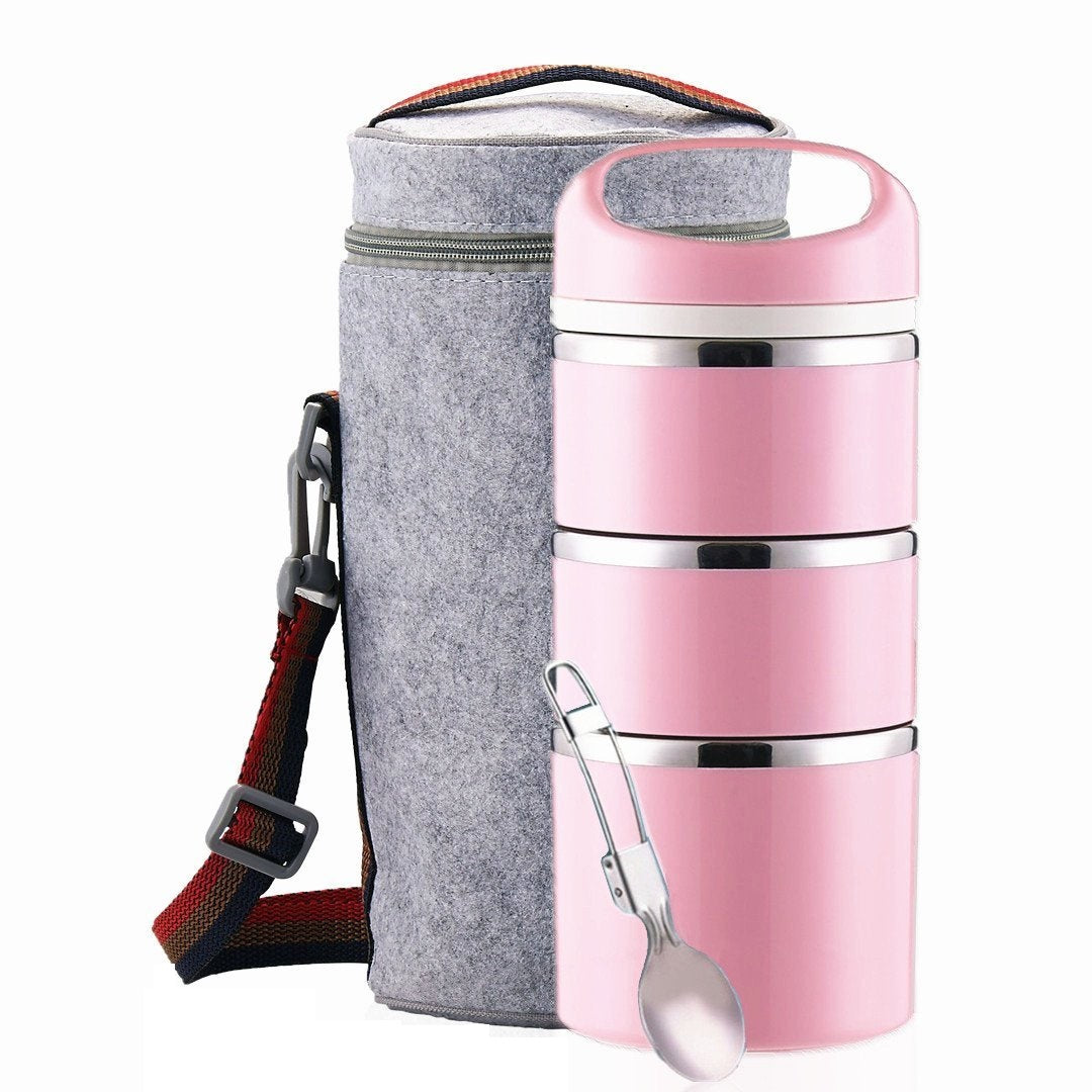 Lille Home Stackable Stainless Steel Thermal Compartment Lunch Box. 3-Tier with Insulated Lunch Bag