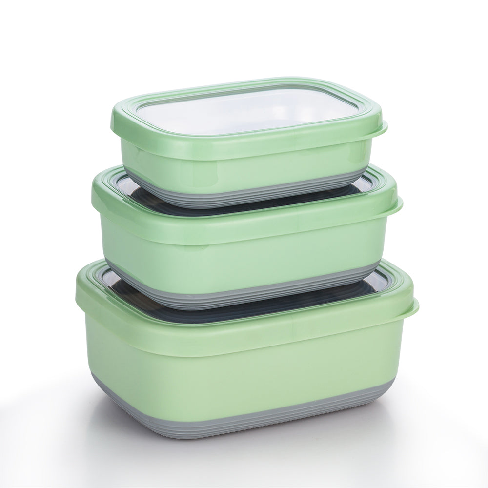 Lille Home Premium Stainless Steel Food Containers With Non-Slip Exterior, Set of 3