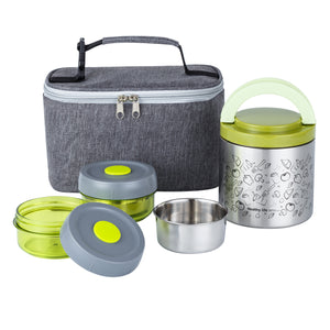 Lille Home Lunch Box Set, An Vacuum Insulated Lunch Box Keeping Food Warm for 4-6 Hours, Two BPA-Free Food Containers, and A Lunch Bag
