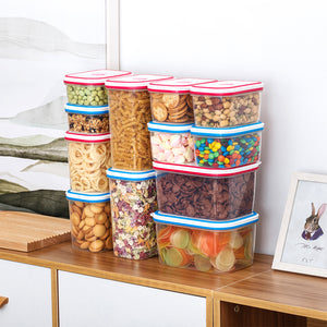 Lille Home Airtight Food Storage Container Set of 6, Kitchen & Pantry Organizer, Plastic Canister with Durable Lid, Leakproof, BPA Free, with Food Storing Date Indicator