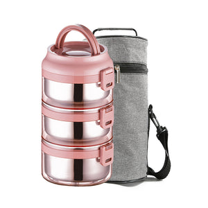 Lille Home 75oz Stainless Steel Stackable 3-Tier Lunch/Snack Box with Lunch Bag, LeakProof, BPA Free