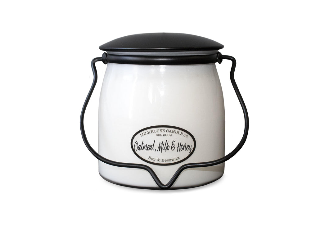 Candle Oatmeal, Milk & Honey 16oz Butter Jar - LoneTree Designs