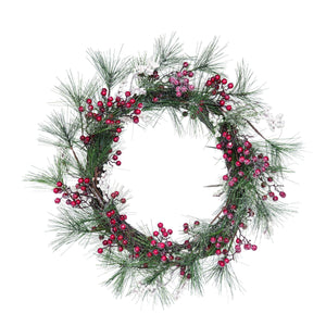 Fabric 20 in. Brown Christmas Berry Wreath - LoneTree Designs