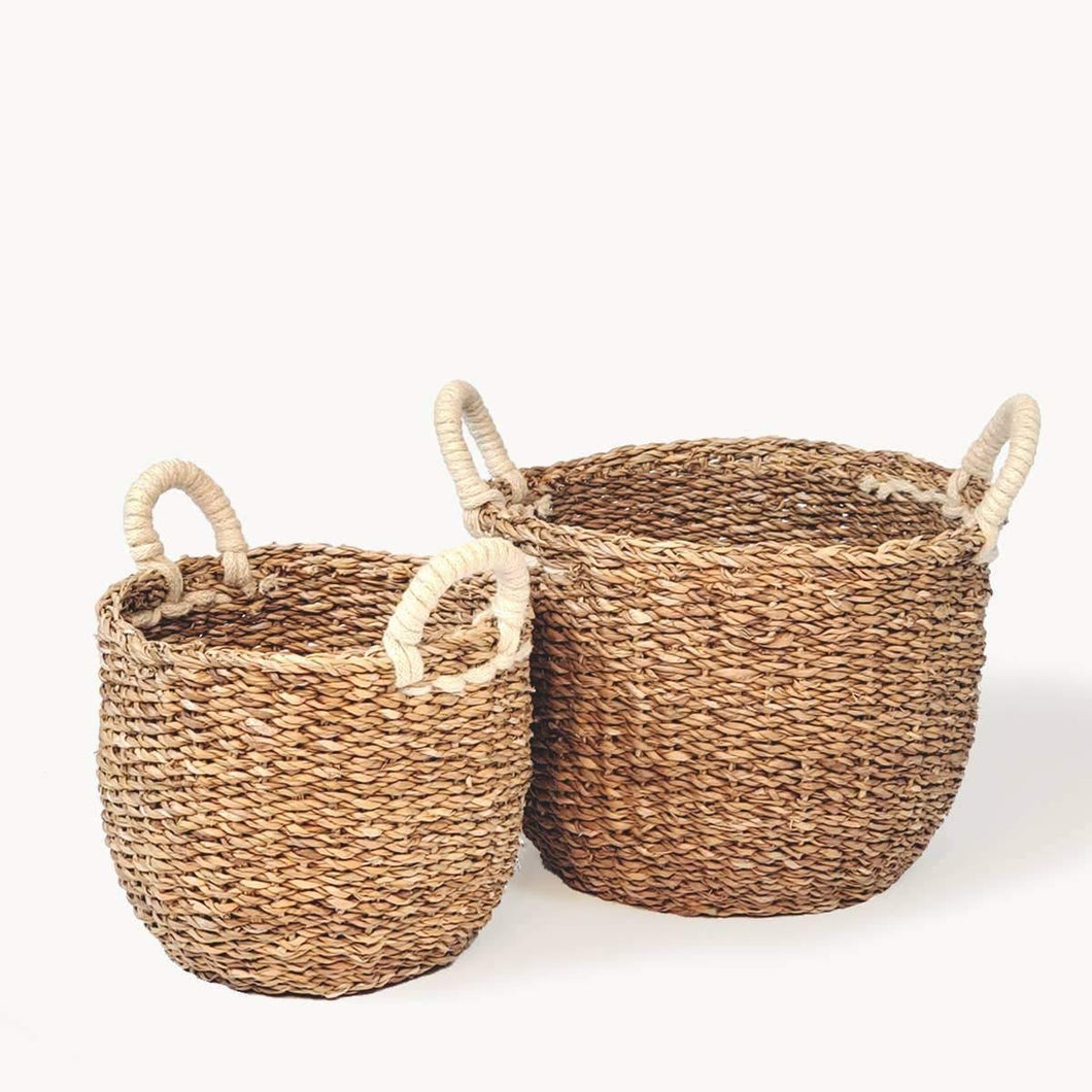 Savar Basket with White Handle - Set of 2