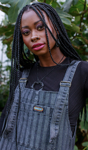 Black Stripe Denim Dungarees by Run and Fly