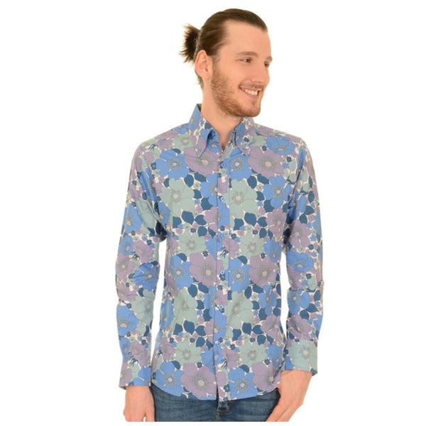 60s Style Blue Floral Print Shirt by Run and Fly - Minimum Mouse