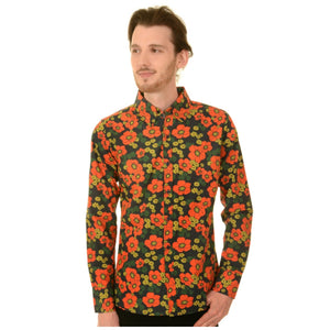 60s Style Floral Poppy Print Shirt by Run and Fly - Minimum Mouse