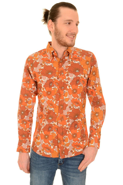 60s Style Orange Floral Print Shirt by Run and Fly - Minimum Mouse