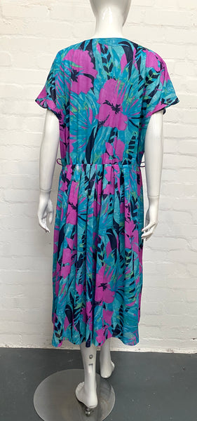 Vintage 80's Blue Jazzy Print Dress 16-18