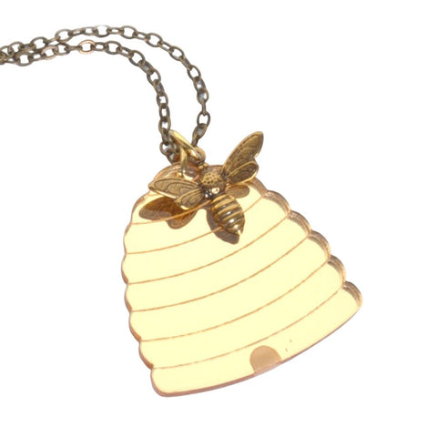 Acrylic Beehive Bee Necklace by Love Boutique - Minimum Mouse
