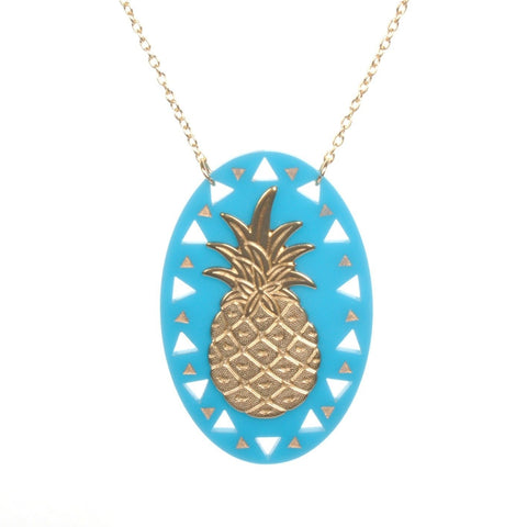 Acrylic Brass Pineapple Necklace by Love Boutique - Minimum Mouse