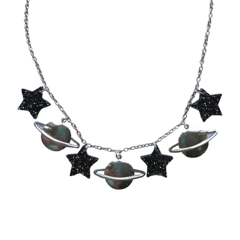 Acrylic Stars and Saturn Necklace by Love Boutique - Minimum Mouse