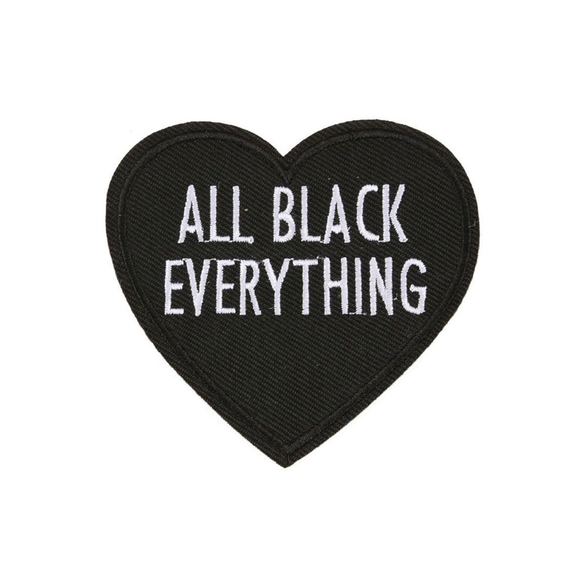 All Black Everything Heart Iron On Patch - Minimum Mouse