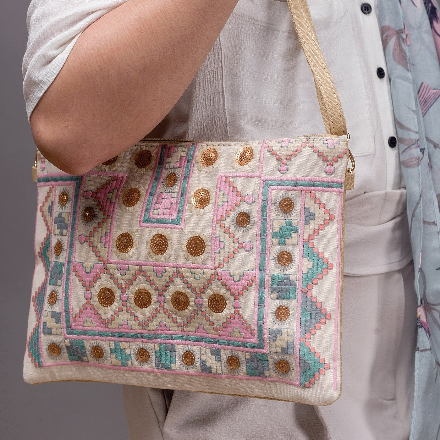 Aztec Embroidered Sequin Shoulder Bag - Minimum Mouse