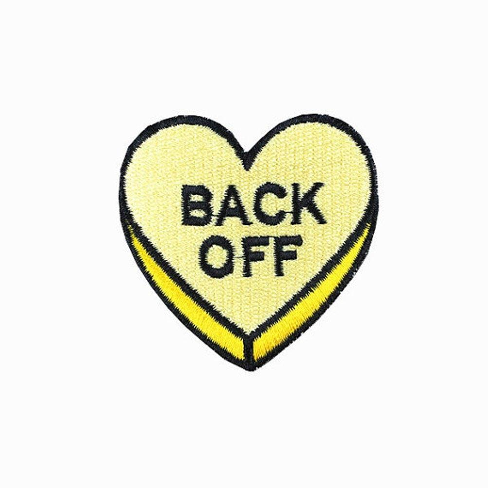Back Off Love Heart Iron On Patch - Minimum Mouse
